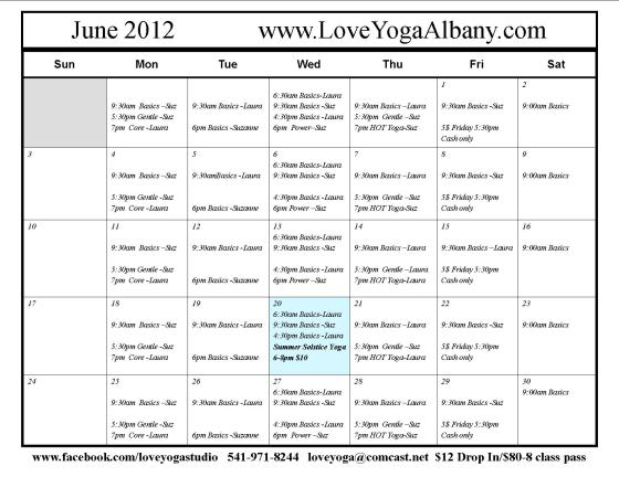 June Love Yoga Calendar